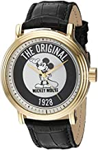 Disney Men's Mickey Mouse Analog-Quartz Watch with Leather-Synthetic Strap, Black, 21.5 (Model: WDS000607)