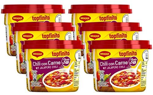 Maggi Topfinito Chili con Carne: mit Jalapeño Chili, leckeres Fertiggericht, mit Hackfleisch und Kidneybohnen, in würziger Soße, 6er Pack (6 x 380g)