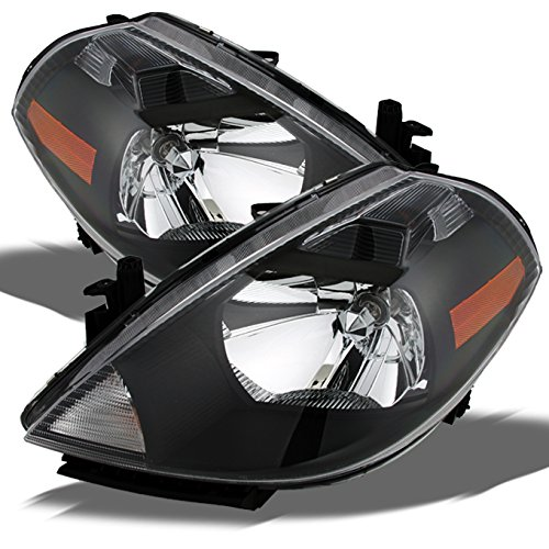 For 2007-2012 Nissan Versa Amber Black Bezel OE Replacement Headlights Driver/Passenger Head