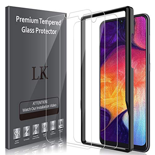 LK 3 Pack Screen Protector Compatible for Samsung Galaxy A50 Tempered Glass - Frame Installation - HD Clear Case Friendly Bubble Free