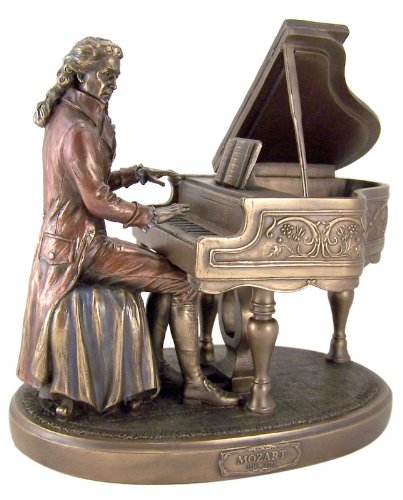 Veronese Design 8 1/8' Tall Classical Composer Wolfgang Amadeus Mozart with Piano Cold Cast Resin Sculpture Antique Bronze Statue...