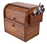 IZLIF Natural Bamboo 2 Layer Bread Boxes for Kitchen Food Storage Removable Layer Large Capacity Bread Keeper, Brown