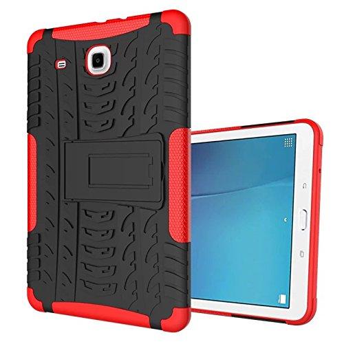 XITODA Funda para Samsung Galaxy Tab E de 9,6 pulgadas, Hybrid Design con Kickstand TPU Silicona + PC Back Case Funda para Samsung Galaxy Tab E 9,6 pulgadas SM-T560/T561/T565, color rojo