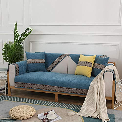 B/H Tejido Poliéster Poliéster Sofa Cubre,Funda de sofá Simple de Color Puro, Funda de sofá Antideslizante-Blue_90 * 180cm,poliéster y Elastano Funda sofá