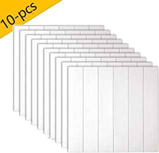 Best Panda 3D Wall Stickers, Peel and Stick Wood Grain Wallpaper for Living Room Bedroom Background Wall Decoration (White, 10PCS)