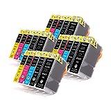 20 Tinnee Cartuchos de Tinta PGI-5 CLI-8, Para Canon PGI-5 CLI-8 PGI5 CLI8 Multipack Cartuchos, Compatible con Canon Pixma iX5000 iP3300 iX4000 iP3500 MP510 MP520 MX700 IP4200 IP4300 IP4500 IP5200