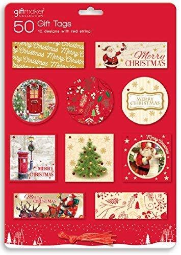 50 x traditionnel cadeau de Noël étiquettes Père Noël de fête Noël à nouer étiquettes