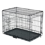 """Dog Crate, Folding Metal Pet Crate, Single-Door & Double-Door Homes for Pets, Kennel with Divider Panel, Wire Dog Crate Animal Cage, for Training Pet Supplies & Accessories (30"""" Double Door)"""