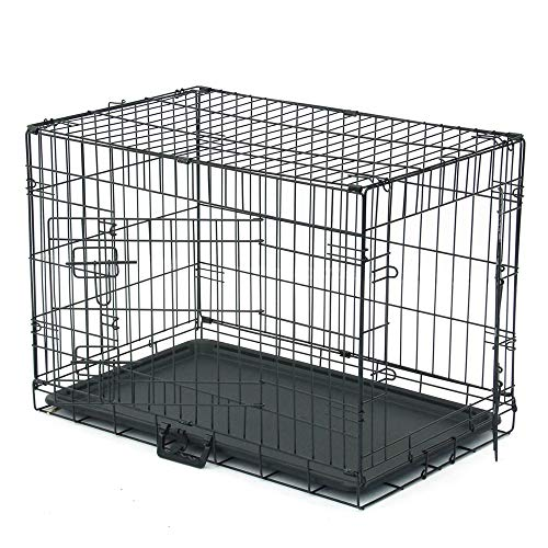 "Dog Crate, Folding Metal Pet Crate, Single-Door & Double-Door Homes for Pets, Kennel with Divider Panel, Wire Dog Crate Animal Cage, for Training Pet Supplies & Accessories (30"" Double Door) Basic Crates"