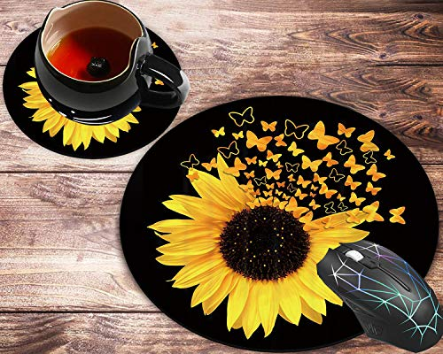 Round Mouse Pad and Coasters Set, Sunflowers and Butterflies in Bloom Mousepad, Non-Slip Rubber Round Mouse Pad, Customized Mouse Mat for Working and Gaming