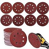 80pcs 125mm Disque de Ponçage Papier Abrasif Accessoires pour Ponceuses Excentrique 8 Grains 320/400/600/800 /1000/1200/1500/2000