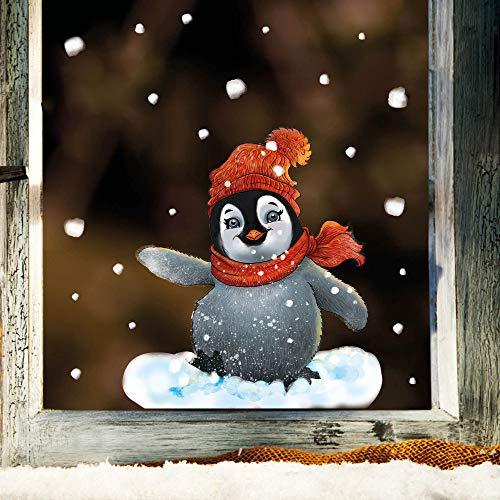 Wandtattoo Loft Fensterbild Weihnachten Winter Pinguin mit Schal und Mütze – Wiederverwendbare Fensteraufkleber