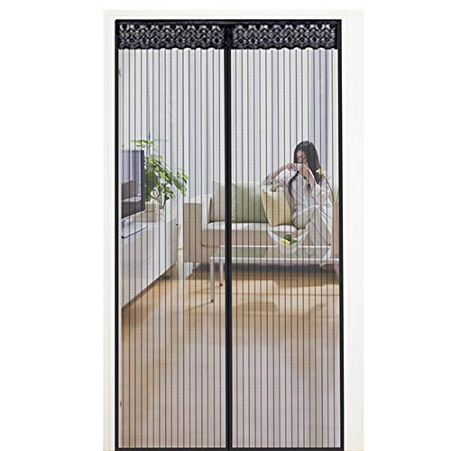 Vliegengaas, balkondeur, hordeur magneet, automatisch sluiten met full-frame-klittenbandsluiting voor balkondeur, keuken, woonkamer, terrasdeur boren 100 x 210 cm