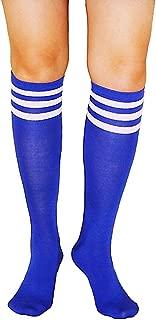 Girls Women Colorful Striped Rainbow Soccer Costume Novelty Knee High Socks