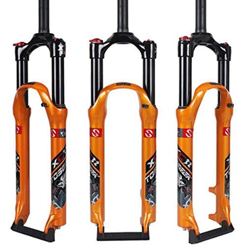 WYJW Horquilla de suspensión de Bicicleta de 26'27,5', Horquilla de suspensión neumática, Control de Hombro Doble de Tubo Recto, Amortiguador de Gas de aleación de Aluminio, Freno de d