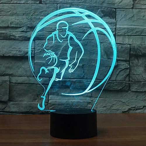 Lámpara 3D de ilusión óptica de baloncesto, 7 colores, interruptor táctil, ilusión, luz nocturna, para dormitorio, hogar, decoración, boda, cumpleaños, Navidad, regalo de San Valentín