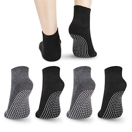 Rutschfeste Rutschfeste Socken, 4 Paar Unisex-Socken für das Yoga-Heimtraining Barre Pilates Hospital Erwachsene Männer Frauen Frauen in Schwarz und Grau