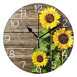 Promini Autumn Sunflowers on Wooden Board Wooden Wall Clock Silent Battery Operated Non Ticking Wall Clock Vintage Wall Decor for Kitchen, Living Room, Bedroom, School, or Office