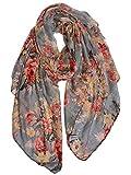 GERINLY Fashion Scarfs for Women Lightweight Flowers Print Long Wrap Shawls Dress Scarves (Gray)