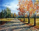 YEESAM ART Pintura de bricolaje por números para adultos principiantes, otoño árboles dorados carretera 40,6 x 50,8 cm lienzo de lino acrílico estrés menos número pintura regalos (dorado, sin marco)