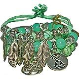 Boho Bracelets, Lava rock bracelets green, Beaded bangle bracelets, Spiritual gift bracelets, Premium jewelry bracelets, Stretch adjustable 3 sets bracelets for Meditation, mindfulness, Friendship bangle bracelets