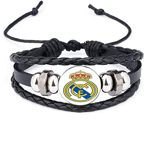 Daawqee Pulseras, Leather Bracelet Football Club Logo Bangle Barcelona Real Madrid Glass...