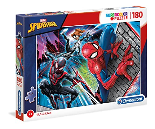 Clementoni 29293 Spiderman Clementoni-29293-Supercolor Puzzle-Spiderman-180 Teile, Mehrfarben