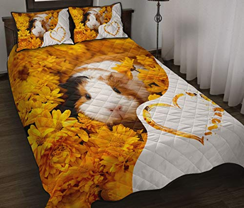 Wecco Guinea Pig Heart Quilt Twin Size - Unique 3D Design, Suitable for All Seasons with Mellow Cotton Material Comfortable and Luxurious.