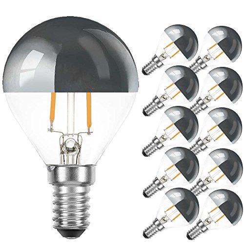 10 x LED Filament Tropfen 2W = 25W E14 Kopfspiegel Silber Glühfaden warmweiß (2700K, 10 Stück)