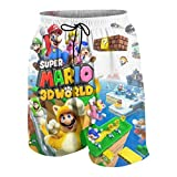 Super Ma-Rio World Boys Teens Cool Swimtrunks Quick Dry 3D Printed Casual Beach Boardshorts 7-20 Years White