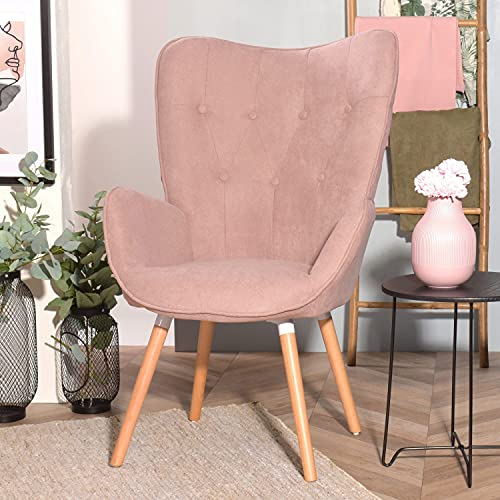 MEUBLE COSY Lehnstühle Vintager Retro Sessel Polstersessel Stoff Lounge Sessel Clubsessel Fernsehsessel, Rosa, 68x73x106cm, KAS PINK FABRIC