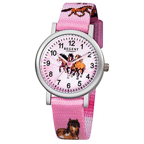 Regent Kinder-Armbanduhr Pferde Quarz Aluminium Textil rosa Mädchen Uhr URF729