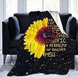 Sunflower Blanket Black Galaxy Flannel Throw Blanket,Ultra Soft Plush Bed Blanket Lightweight Warm...