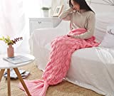 Naturer Meerjungfrauendecke Mermaid Schwanz Blanket 195 cm Fischschwanz, Meerjungfrau Häkeln Decke Sofa Schlafdecke Schlafsack kuschelig warm rosa Decke