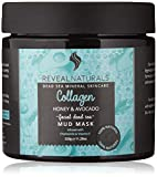 Natural Dead Sea Mud Mask for Face and Body Infused with Collagen, Avocado and Honey – Unscented - Used as Blackhead remover, Natural Pore Reducer, anti aging, and Acne treatment. (11.28 OZ)