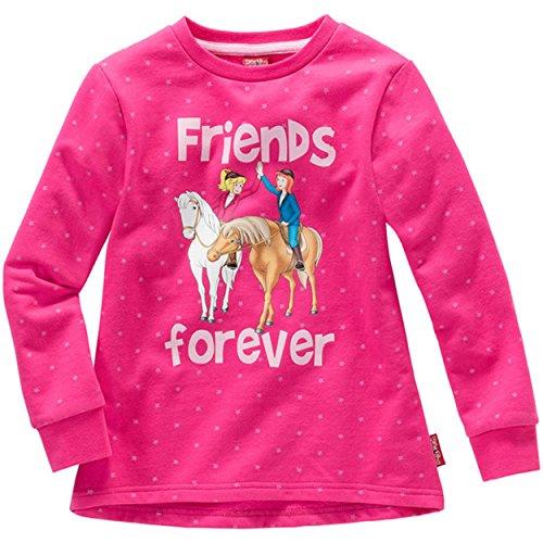 Bibi & Tina Kinder Mädchen SWEATSHIRT Bibi und Tina friends forever Pullover Sweater Pulli Pink 98 bis 152, Größe:110