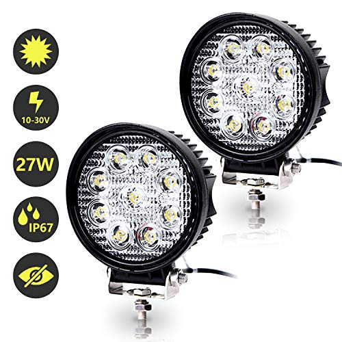 Hengda 2x 27W LED Arbeitsscheinwerfer 12V 24V Scheinwerfer Traktor Rückfahrscheinwerfer LED Strahler für Offroad, KFZ, SUV, LKW, Auto Zusatzscheinwerfer IP67 Wasserdicht, Rund