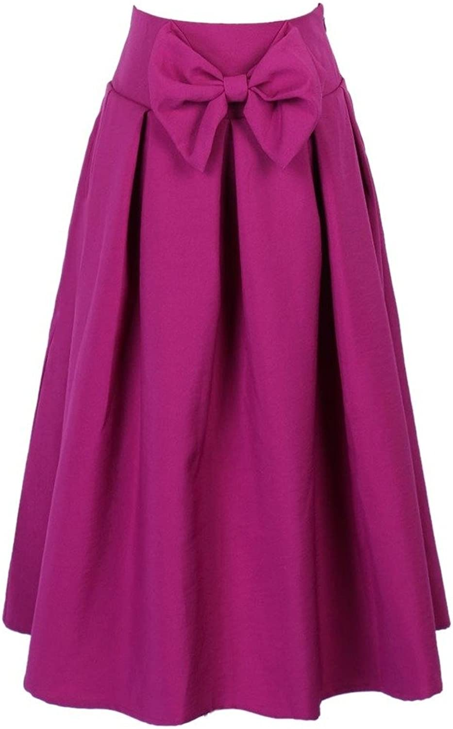 CHARLES RICHARDS CR Women's Casual Pleat Bowknot Front Midi Skirt