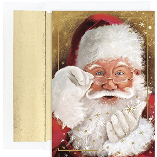 Masterpiece Studios Holiday Collection 18-Count Boxed Christmas Cards with Foil-Lined Envelopes, 7.8' x 5.6', Sparkling Santa