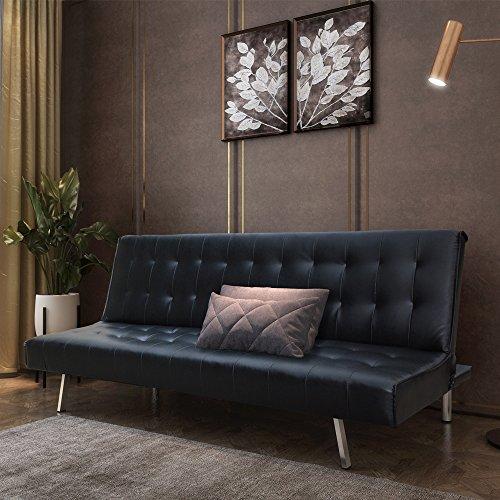 Style home Schlafsofa Couch Bett Kunstleder Holzgestell Edelstahlfüße Schwarz HSP01-SCH