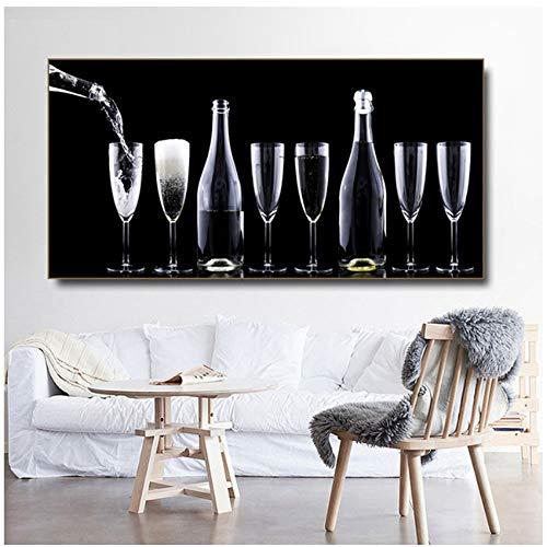NIESHUIJING druk op canvas rode wijn champagne wijnglas afbeeldingen canvasdruk muurkunst schilderijen woonkamer decoratieve schilderijen 23.6