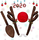 Musitrend Car Reindeer Antlers & Nose, Window Roof-Top & Front Grille Rudolf Reindeer Jingle Bell & Tail for The Trunk Christmas Costume, Decoration Kit Best for Car SUV Van Truck, Xmas Gift Set