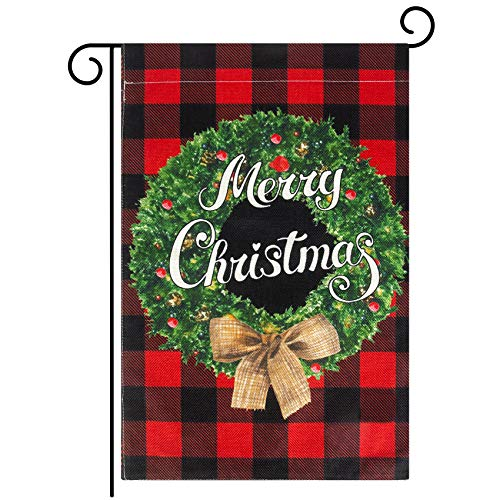 Amandir Christmas Garden Flag, Buffalo Plaid Christmas Decorations Winter Rustic Merry Christmas Garden Flags Double Sided Holiday New Year Farmhouse Yard Outdoor Decor 12 X 18 Inch