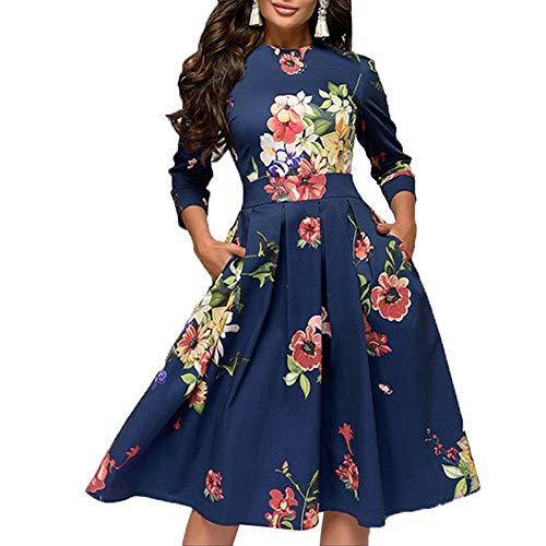 Grace&Nora Midi-jurk voor dames, bloemenjurk, met zakken, vintage elegante avondjurk, cocktailjurk - blauw - XXL