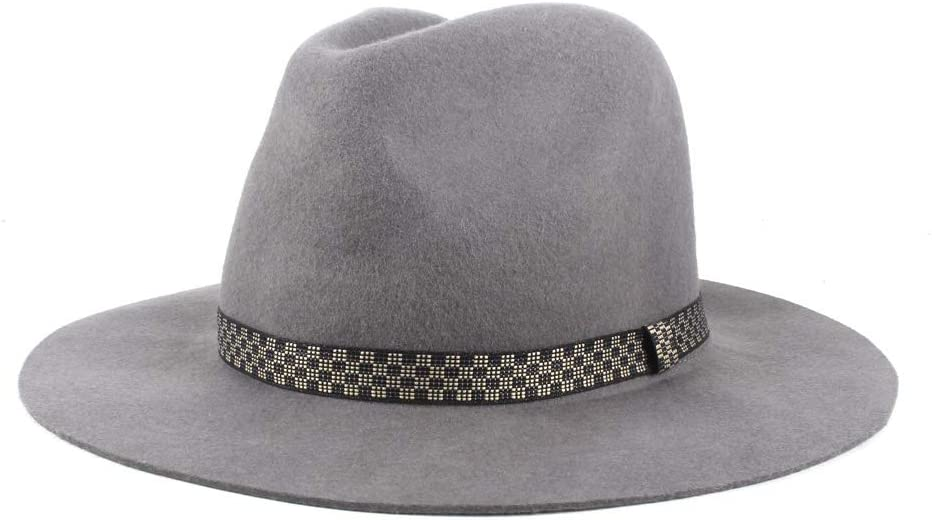 No-branded Men's Wool Polyester Fedora Hat Jazz Hat Wide Casual Hat Fashionable Gentleman Hat Women's Winter Hat ZRZZUS (Color : Dark Gray, Size : 56-58cm)