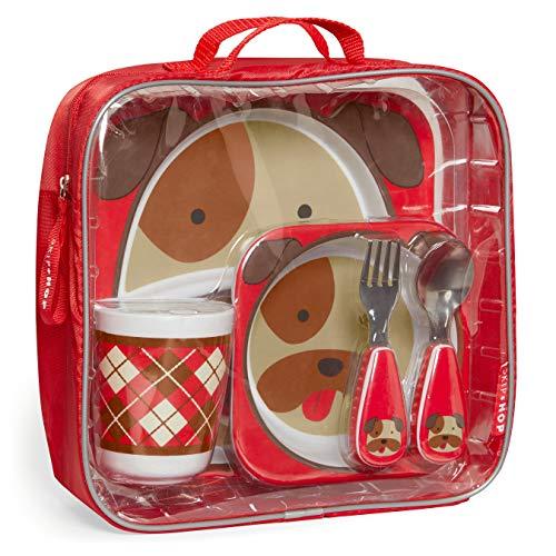 Skip Hop Conjunto de presente para a hora da refeição infantil: prato combinando, tigela, copo e utensílios, buldogue