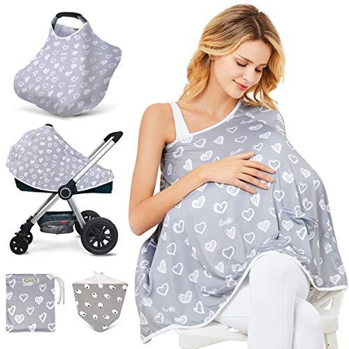 Baby Stilldecke & Stillponcho – Multifunktionale Abdeckung für Babyschale Baldachin, Einkaufswagen-Abdeckung, Kinderwagen-Abdeckung, 360 ° Vollsichtschutz, Stillschutz (herzförmig)
