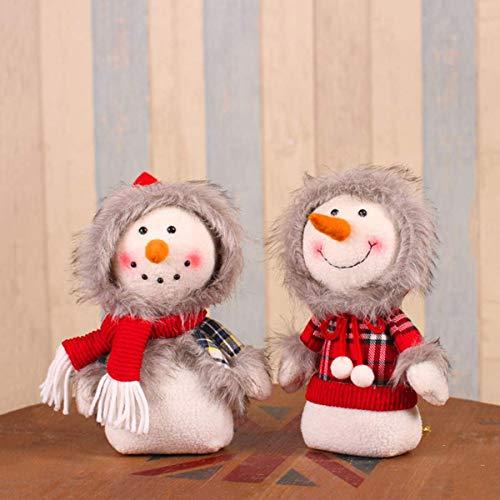 LIUSHI Pao navideo Mueco de Nieve Escritorio Pap Noel Familia de Cuatro Decoraciones de Escena navidea Juguetes para nios, Hijo e Hija