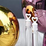 EinsSein 24x Seifenblasen Hochzeit Herzgläschen Box Weiss Wedding Bubbles gefüllt Vintage hochzeitsdeko Herz gastgeschenk tischdeko hochzeitsseifenblasen Candy bar luftblasen deko Flüssigkeit - 5