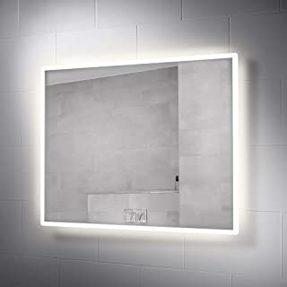 Pebble Grey 28 x 36 Inch Bathroom Vanity Mirror with LED Illuminated Lights and Demister for Anti-Fog | Wall Mounted